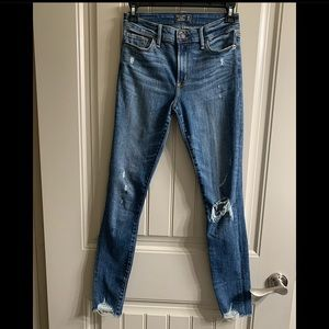 Abercrombie & Fitch distressed low rise jeans